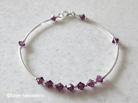 Amethyst Purple Sterling Silver Designer Bangle Bracelet With Swarovski Crystals